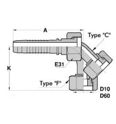 FTS : Femelle (ORFS) SAE FACE PLATE Droit/Coudé 45°/90° série CSE