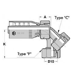 FMG : Femelle GAZ (CÔNE 24°) Droit/Coudé 45°/90° série SN