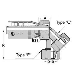 FPUS : Femelle série LOURDE (CÔNE 24°) FIL. MÉTRIQUE Droit/Coudé 45°/90° série SN