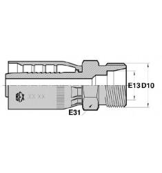 MTG : Mâle pour tube GAZ CÔNE 24° FIL. MÉTRIQUE série SN