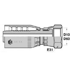FGT : Femelle GAZ écrou tournant FOND PLAT Droit série ST