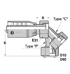 FTS : Femelle (ORFS) SAE FACE PLATE Droit/Coudé 45°/90° série ST