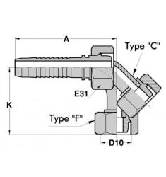 FMG : Femelle GAZ (CÔNE 24°) Droit/Coudé 45°/90° série CSER