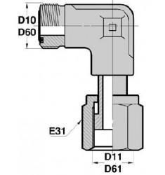MORFS - FTS F : Adapteur Coudé 90° Mâle/Fem. tournant ORFS