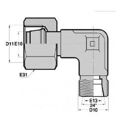 MTG - FMG F : Adapteur Coudé 90° Mâle/Fem. tournant TUBE GAZ Filetage MÉTRIQUE CÔNE 24°