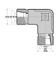 MTL - MTL F : Adapteur Coudé 90° Mâle/Mâle série DIN LÉGÈRE Filetage MÉTRIQUE CÔNE 24°