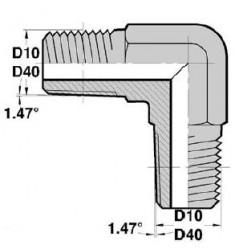 MGCO - MGCO F : Adapteur Coudé 90° Mâle/Mâle Gaz Conique