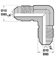 MJ - MJ F : Adapteur Coudé 90° Mâle/Mâle JIC
