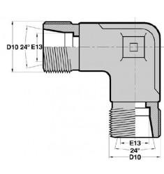 MTS - MTS F : Adapteur Coudé 90° Mâle/Mâle série DIN LOURDE Filetage MÉTRIQUE CÔNE 24°