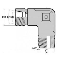 MTG - MGCO F : Adapteur Coudé 90° Mâle pour tube GAZ Filetage MÉTRIQUE CÔNE 24° x Mâle Gaz Conique