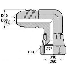MJ - FJ F : Adapteur Coudé 90° Mâle/Fem. tournant JIC