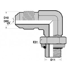 MJ - MGCYOR F : Adapteur Coudé 90° Mâle JIC x Mâle Gaz Cylindrique + O RING ORIENTABLE