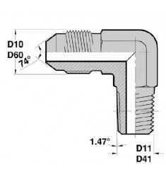 MJ - MGCO F : Adapteur Coudé 90° Mâle JIC x Mâle Gaz Conique