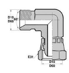 MBSP - FBSP F : Adapteur Coudé 90° Mâle/Femelle tournant BSP