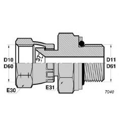 FJ - MGCYOR : Adapteur Droit Femelle JIC tournant x Mâle Gaz Cylindrique + O RING