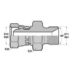 FBSP - MBSP CT : Adapteur Droit Femelle BSP tournant x Mâle BSP avec portée de joint