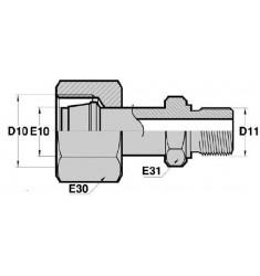 FMG - MDCT : Adapteur Droit Femelle GAZ tournant x Mâle Métrique DIN + portée de joint