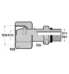FMG - MSOR : Adapteur Droit Femelle GAZ tournant x Mâle SAE + O RING