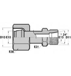 FMG - MTL : Adapteur Droit Femelle GAZ tournant x Mâle pour tube série DIN LÉGÈRE