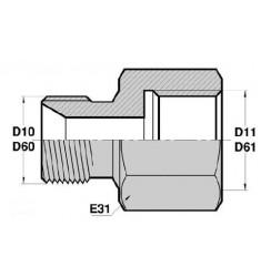 MBSP CT - FGF : Adapteur Droit Mâle BSP + portée de joint x Femelle GAZ FIXE