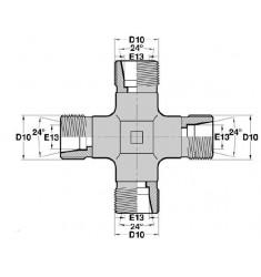 4 x MTL : CROIX EGALE pour tube MILLEMÉTRIQUE série DIN LÉGÈRE Filetage MÉTRIQUE CÔNE 24deg