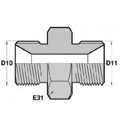 MD - MD : Union Droit Mâle/Mâle symétrique DIN MÉTRIQUE