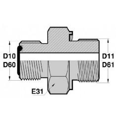 MORFS - MGCYOR : Adapteur Droit Mâle ORFS x Mâle Gaz Cylindrique + O RING