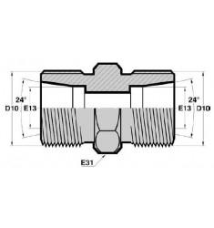 MTG - MTG : Union Droit Mâle/Mâle symétrique pour tube GAZ MÉTRIQUE CÔNE 24deg