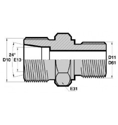 MTL - MGCYL : Adapteur Droit Mâle série DIN LÉGÈRE x Mâle Gaz Cylindrique