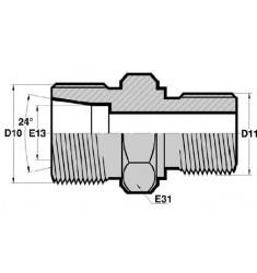 MTS - MGCYL : Adapteur Droit Mâle série DIN LOURDE x Mâle Gaz Cylindrique