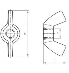 Ecrous à Oreilles forme Américaine DIN 314 Inox A2