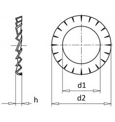 Rondelles Eventail Extérieure DIN 6798 A Bichromaté