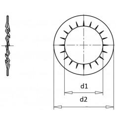 Rondelles Eventail Intérieure DIN 6798 J Zingué
