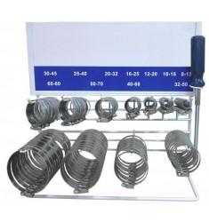 Présentoir Colliers de Serrage Inox DIN 3017 (110pcs). Composition : 10x 8-12mm, 10x 10-16mm, 10x 12-20mm, 10x 16-25mm, 10x ...